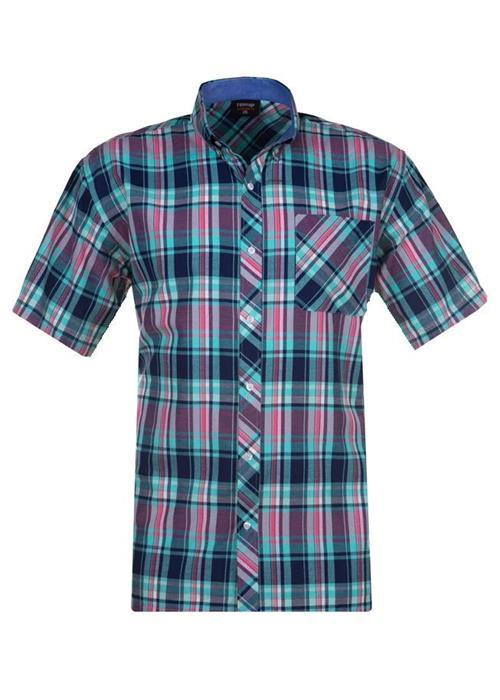Espionage Short Sleeve Multi Check Shirt (Pink/Teal)