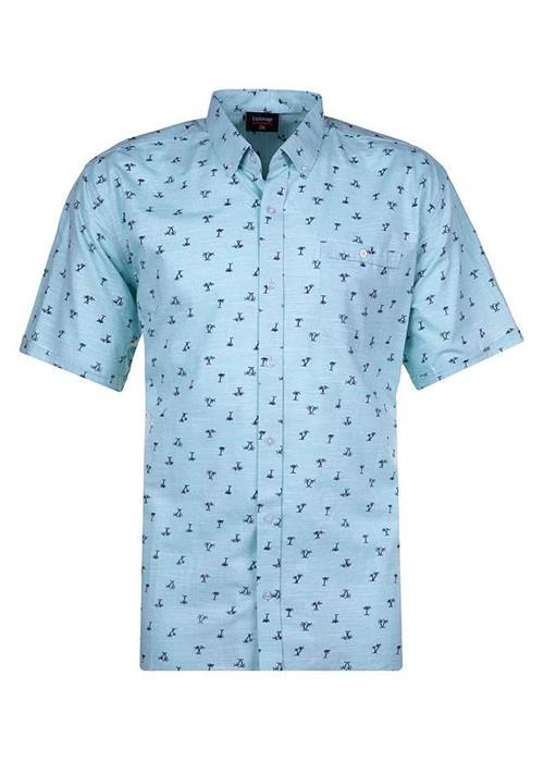 Espionage Short Sleeve Linen Effect Printed Shirt (Turquoise)