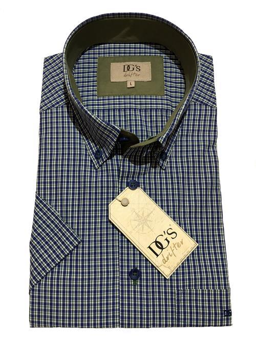 Douglas Short Sleeve Neat Check Shirt (Navy / Green)