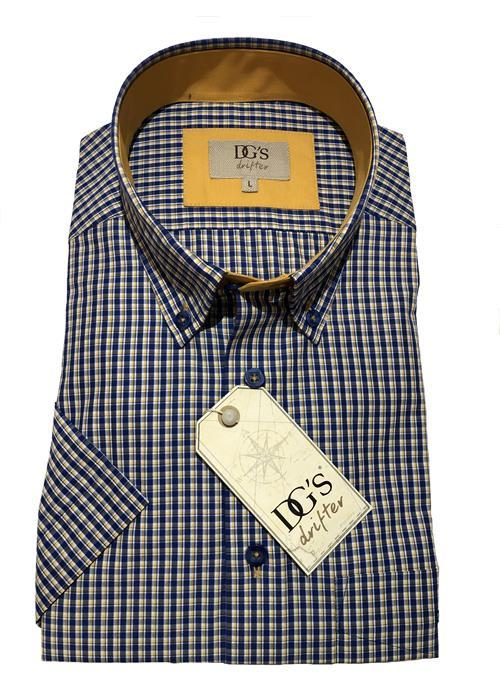 Douglas Short Sleeve Neat Check Shirt (Navy / Yellow)