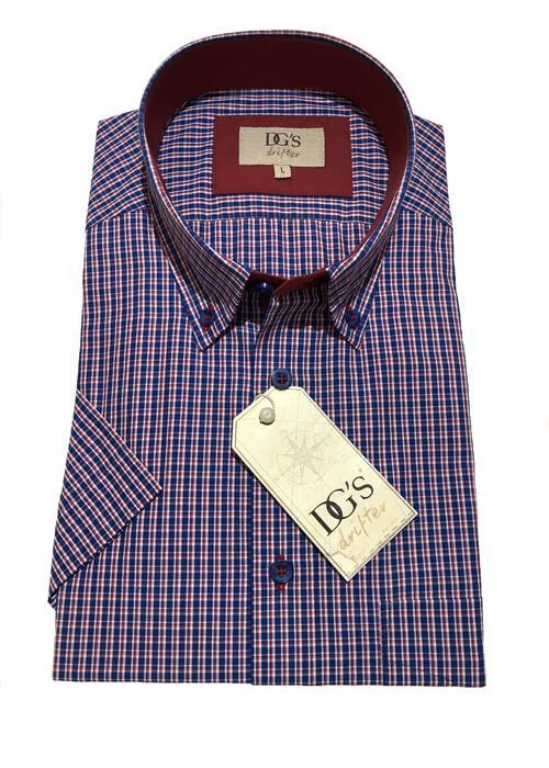 Douglas Short Sleeve Neat Check Shirt (Navy / Red)