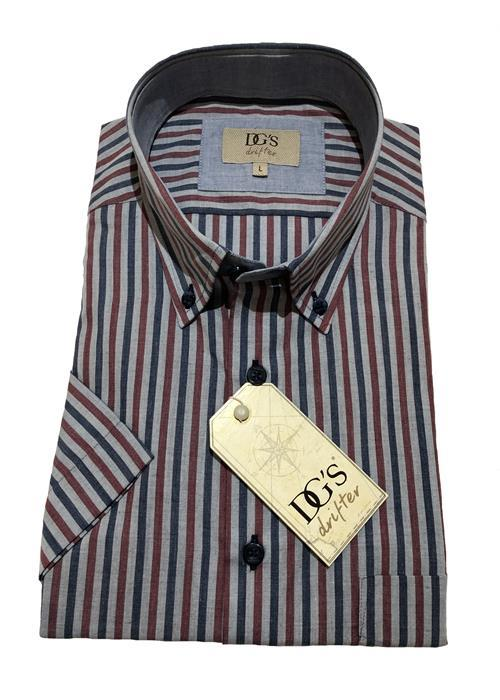 Douglas Short Sleeve Classic Stripe Shirt (Grey / Wine)
