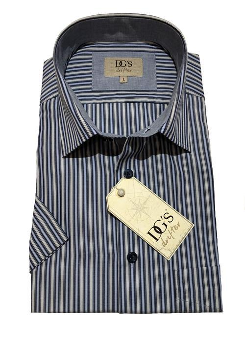 Douglas Short Sleeve Neat Stripe Shirt (Blue / Grey)
