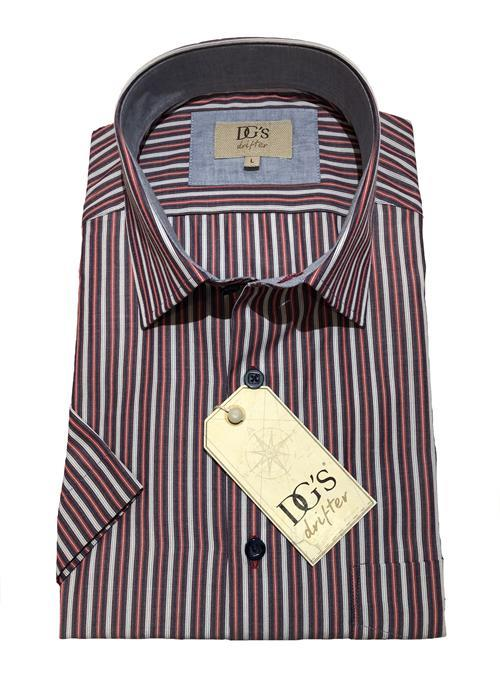 Douglas Short Sleeve Neat Stripe Shirt (Red / Grey)