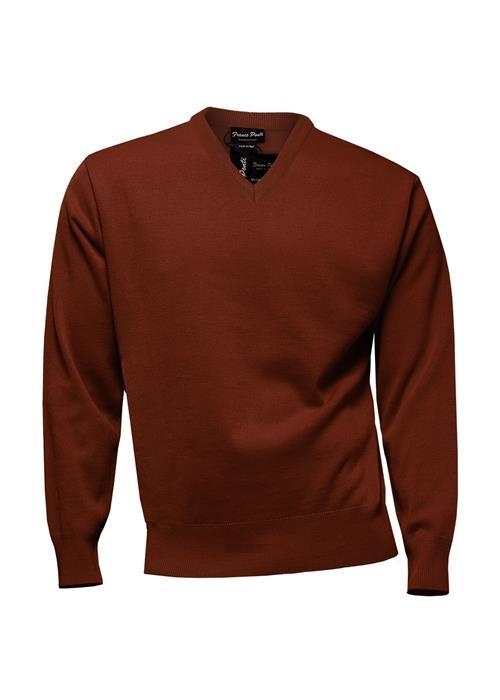 Franco Ponti Knitwear V-Neck Sweater (Rust)