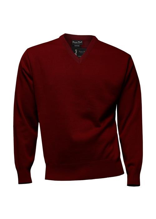 Franco Ponti Knitwear V-Neck Sweater (Burgundy)