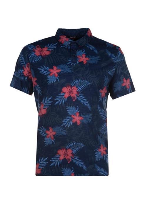 Espionage Floral Pattern Polo Shirt