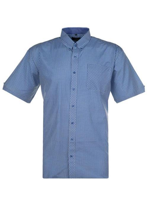 Espionage Short Sleeve Gingham Check Shirt (Sky Blue)