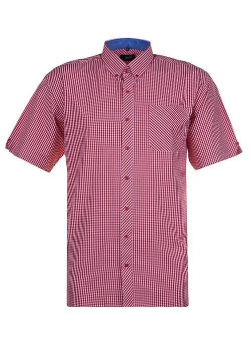 Espionage Short Sleeve Gingham Check Shirt (Red)