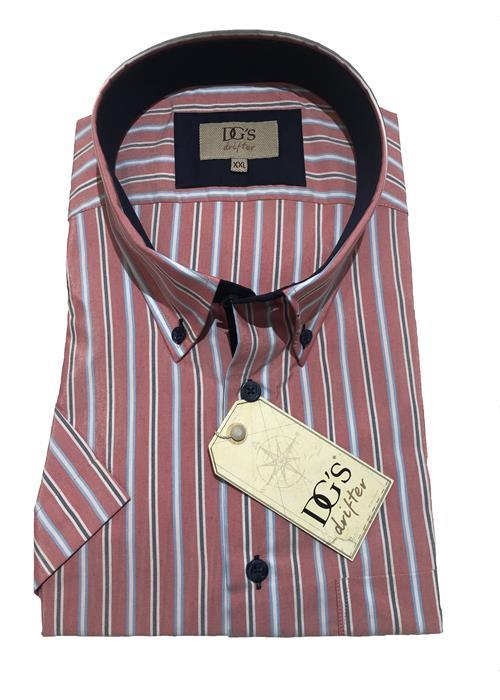 Douglas Multi Stripe Short Sleeve Shirt (Salmon Pink)