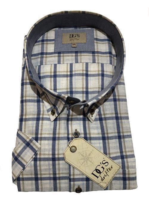 Douglas Linen Effect Short Sleeve Check Shirt (Tan/Blue)