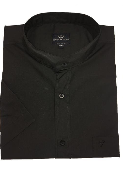 Cotton Valley Collarless / Grandad Collar Short Sleeve Shirt (Black)