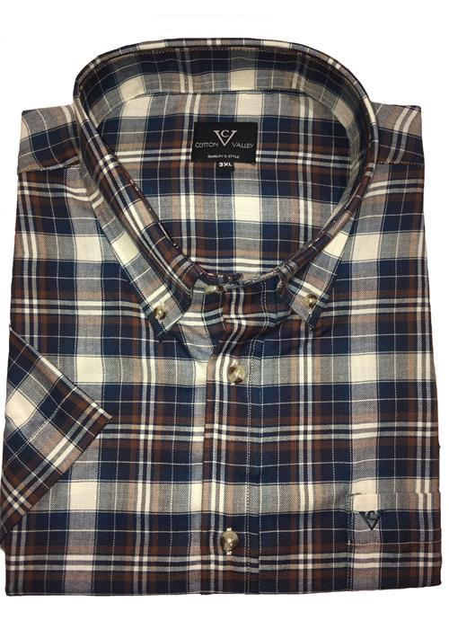 Cotton Valley Short Sleeve Woven Check Shirt (Navy/Tan)