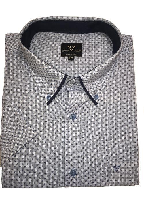 Cotton Valley Short Sleeve Patterned Shirt (White/Blue)