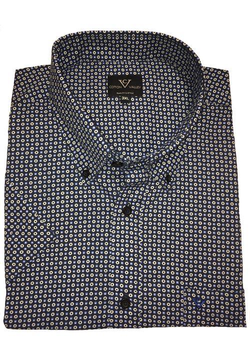 Cotton Valley Short Sleeve Patterned Shirt (Navy)