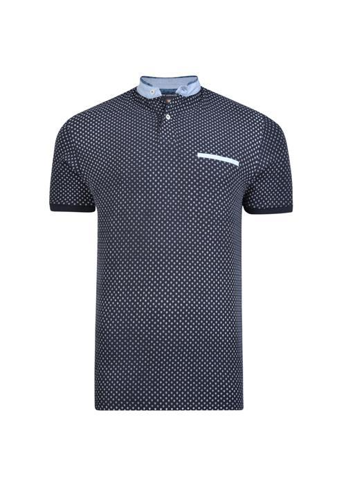 KAM Mini Anchor Grandad Collar Polo (Black)