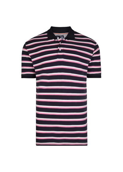KAM Mini Stripe Polo (Navy/Pink)