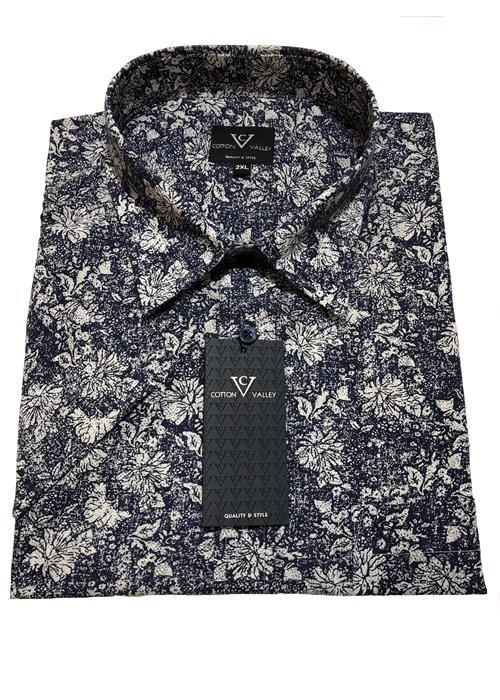 Cotton Valley / Metaphor Floral Print Short Sleeve Shirt (Blue)