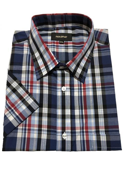 Cotton Valley / Metaphor Bold Check Short Sleeve Shirt (Navy)