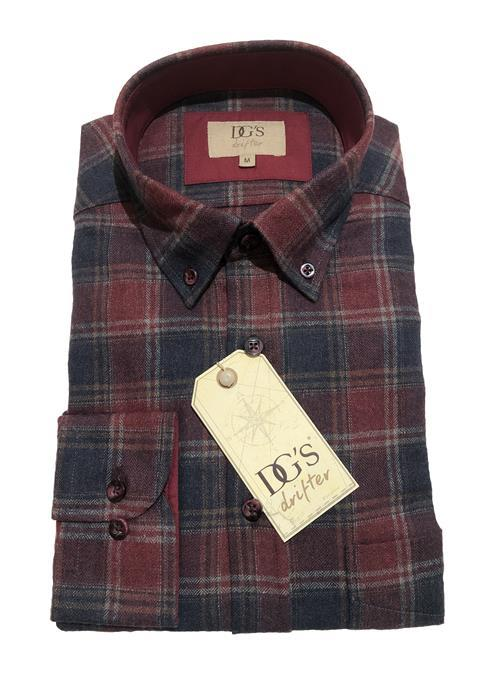 Douglas Brushed Cotton Check Shirt (Wine/Navy)
