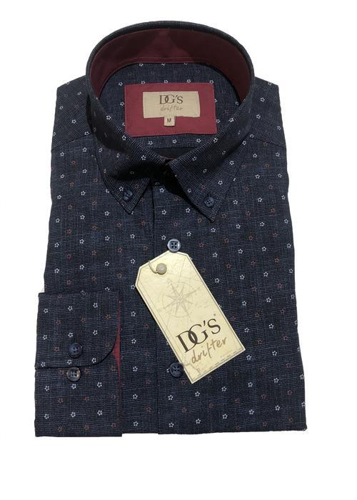 Douglas Neat Patterned Shirt (Navy)