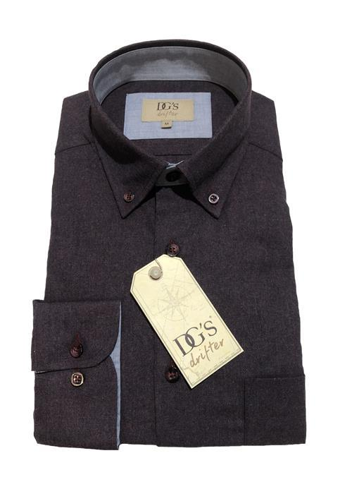 Douglas Plain Brushed Cotton Long Sleeve Shirt (Dark Wine)