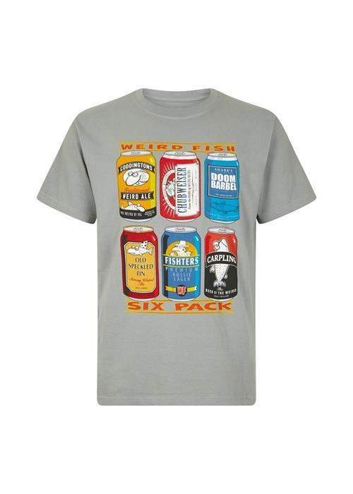 Weird Fish 6 Pack Beer Cans Tee (Gunmetal)