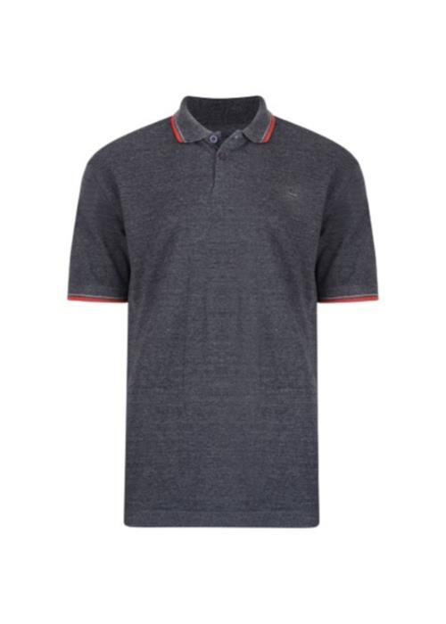 KAM Classic Tipped Polo Shirt (Charcoal)