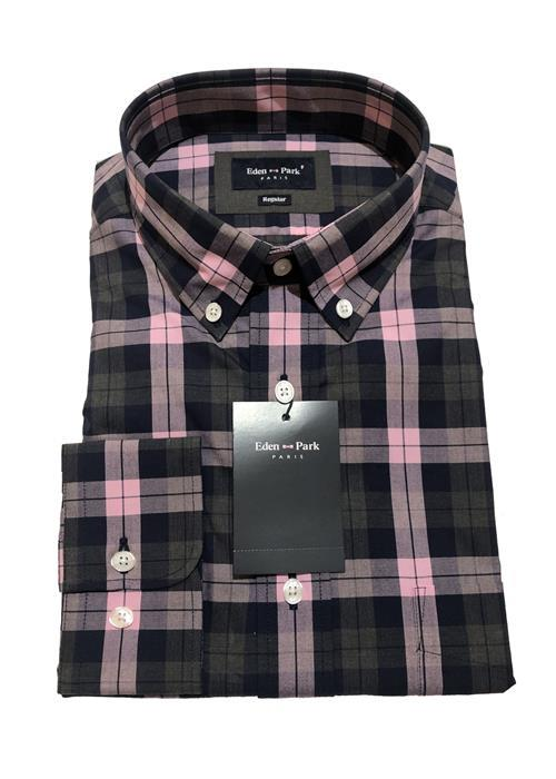 Eden Park Long Sleeve Bold Check Shirt (Pink/Navy/Charcoal)