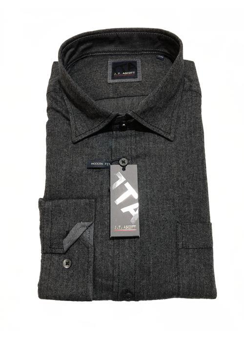 JT ASCOT Herringbone Pattern Long Sleeve Shirt (Charcoal)