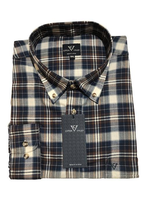 Cotton Valley / Metaphor Multi Check Long Sleeve Shirt (Navy/Brown)