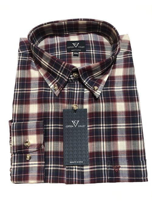 Cotton Valley / Metaphor Multi Check Long Sleeve Shirt (Navy/Wine)