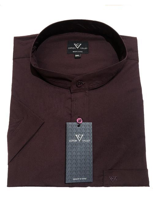 Cotton Valley / Metaphor Collarless / Grandad Collar Short Sleeve Shirt (Aubergine)