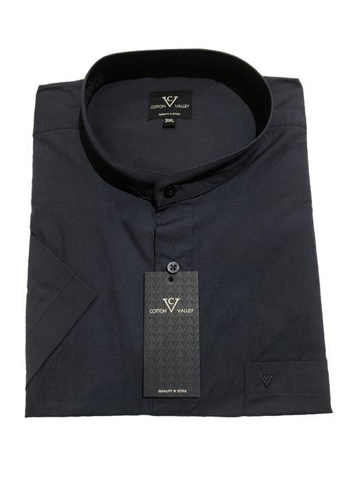 Cotton Valley / Metaphor Collarless / Grandad Collar Short Sleeve Shirt (Navy)