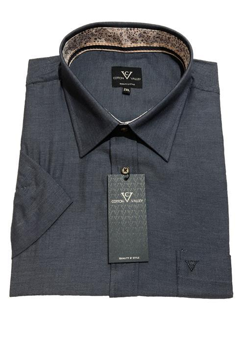 Cotton Valley / Metaphor Short Sleeve Herringbone Striped Shirt (Denim Blue)