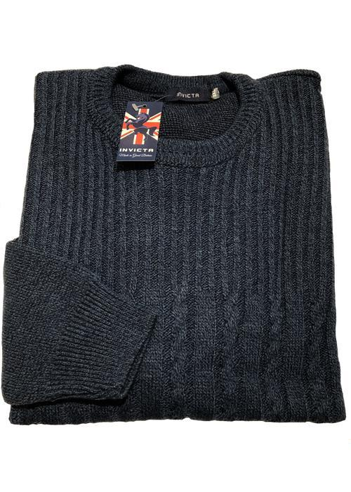 Cotton Valley / Metaphor Cable Knit Crew Neck Sweater (Dark Blue)