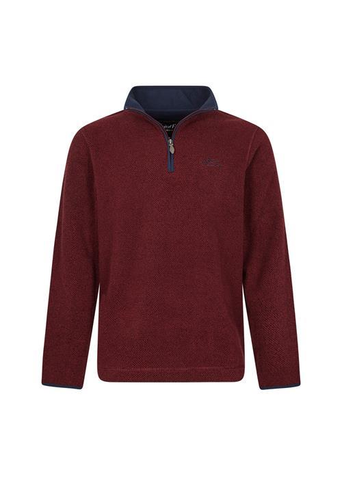 Weird Fish Errill 1/4 Zip Textured Fleece (Oxblood)