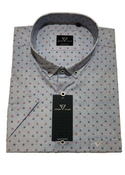 Cotton Valley / Metaphor Short Sleeve Square Patterned Shirt (White)