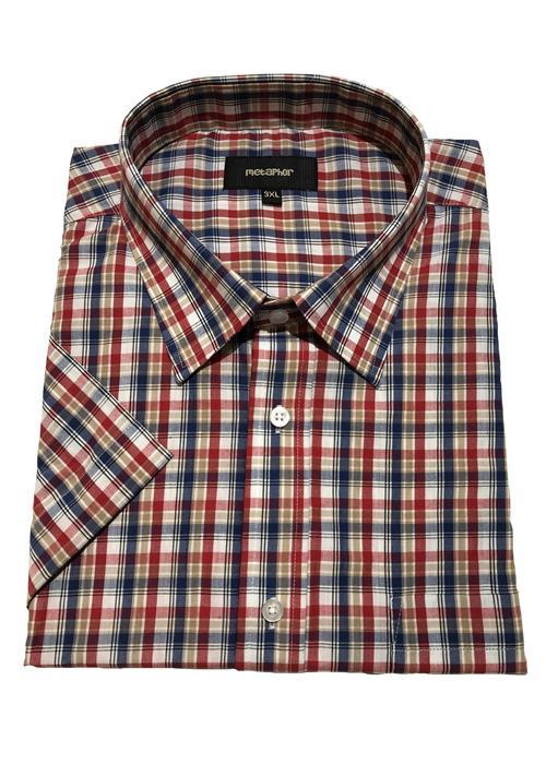 Cotton Valley / Metaphor Short Sleeve Neat Multi Check (Red/Tan)