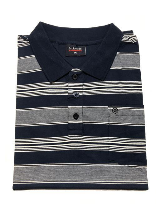 Espionage Striped Jersey Polo Shirt (Navy)