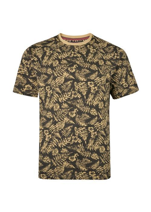 KAM Floral Printed T-Shirt (Charcoal)