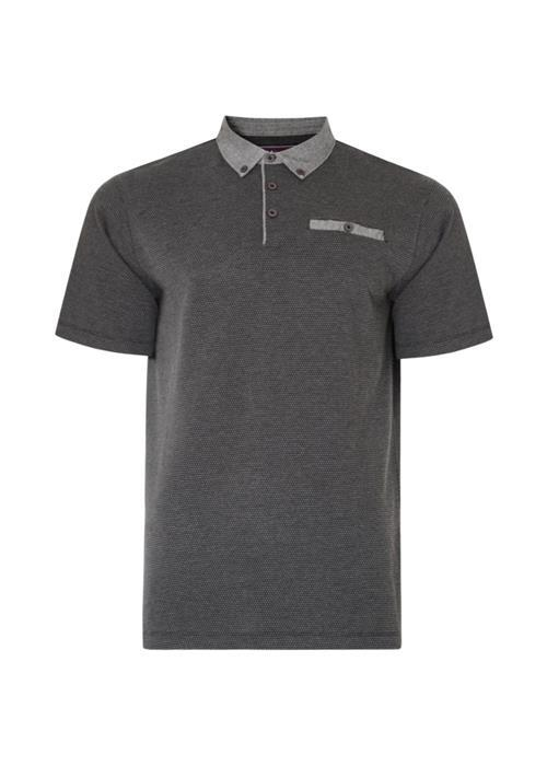 KAM Dobby Patterned Polo Shirt (Charcoal)