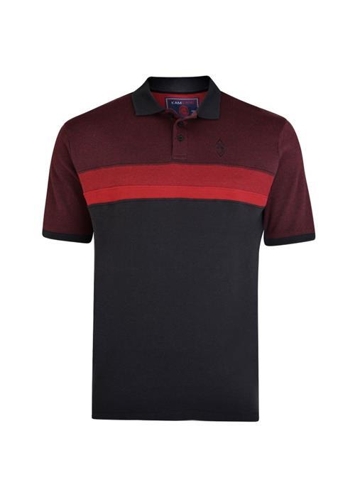 KAM Cut & Sew Polo Shirt (Burgundy/Black)
