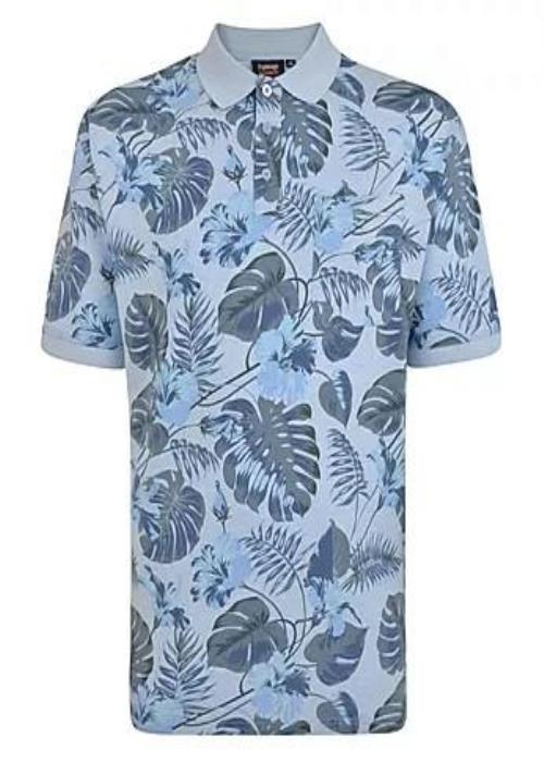 Espionage Palm Print Polo Shirt (Sky Blue)