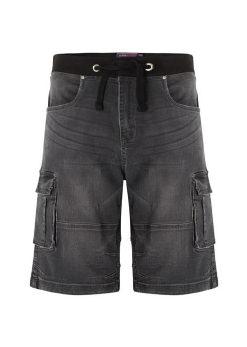KAM Ditto Stretch Denim Cargo Shorts (Charcoal)