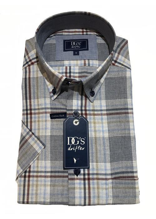 Douglas Short Sleeve Multi Check Shirt (Tan)