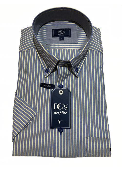 Douglas Short Sleeve Neat Stripe Shirt (Blue / Lemon)