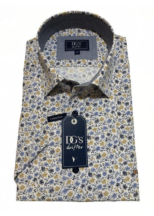 Douglas Short Sleeve Floral Patterned Shirt (White)