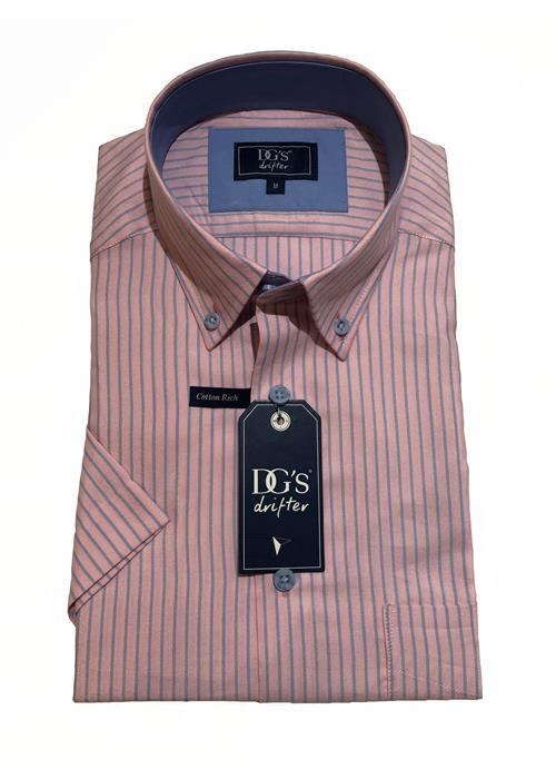 Douglas Short Sleeve Neat Stripe Shirt (Pink/Blue)