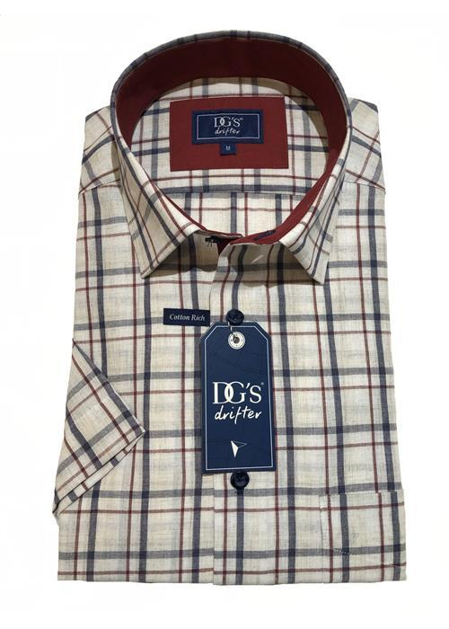 Douglas Short Sleeve Woven Multi Check Shirt (Sand)